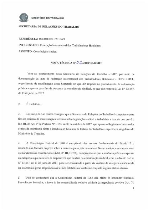 Nota Técnica 02_2018 - MTE - Contribuição Sindical